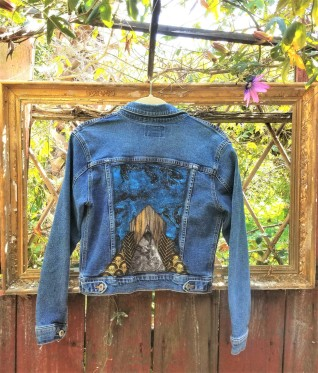 Art Deco Night Sky Fabric Collage Denim Jacket