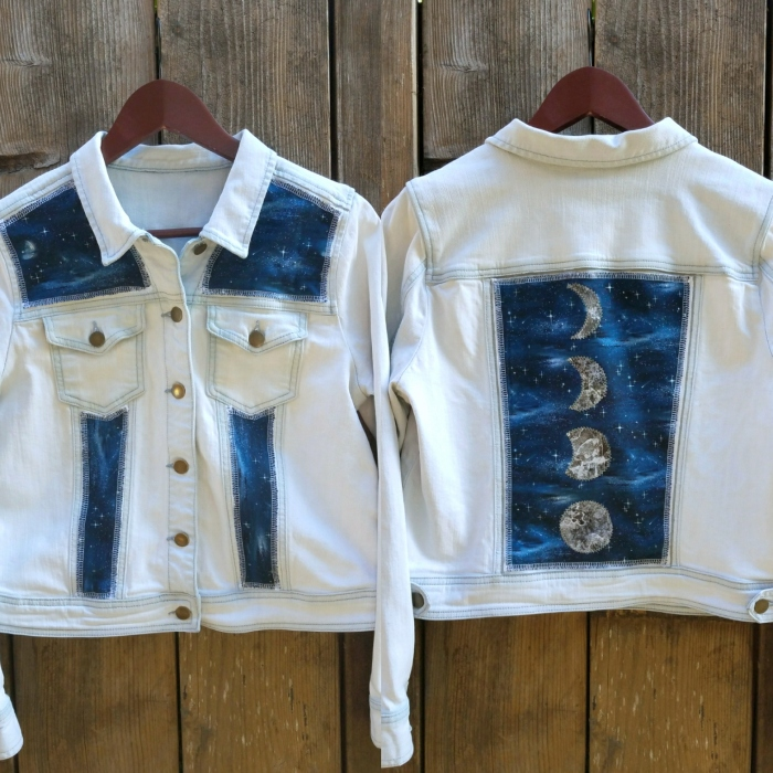 Moon Phases and Night Sky Light Denim Upcycle