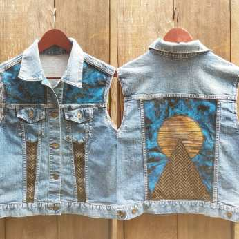 Night Sky Gold Planet and Pyramid Upcycled Denim Vest