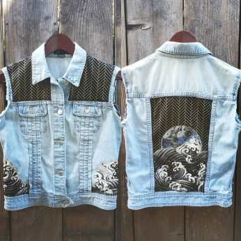 Sinking Planet into Ocean Waves Up-cycled Denim Vest
