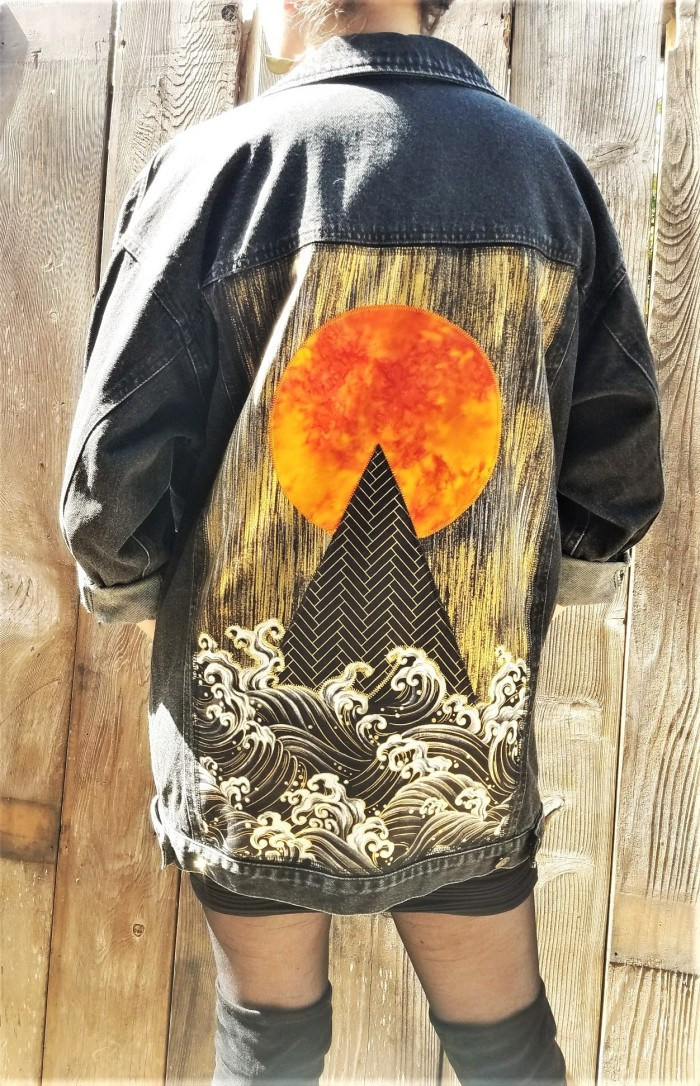 Sun, Pyramid, Ocean Waves Black Denim Jacket