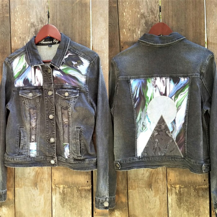 Black Denim Psychedelic Oil Slick Pyramid and Planet Patchwork