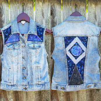 Geometric Space Denim Vest Patchwork