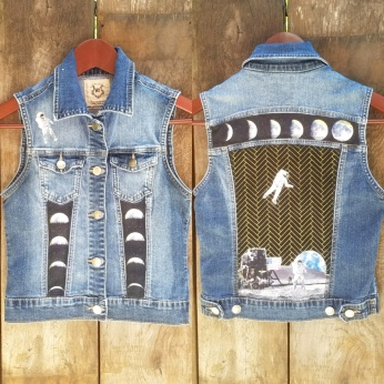 Up-cycled Patchwork denim Moon Landing Moon Phases Xtra Small