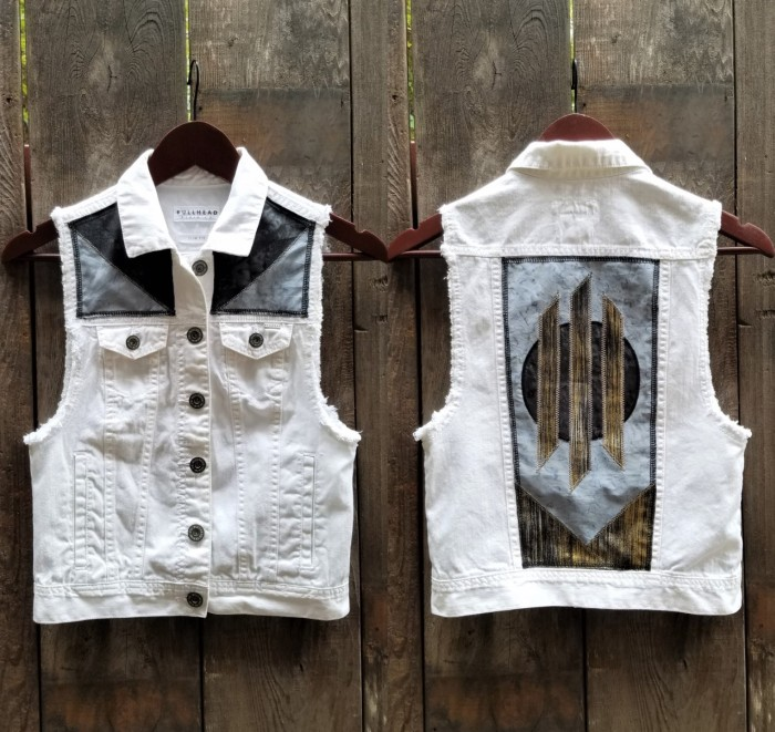 White Vest with Black Batik Planet and gold bars